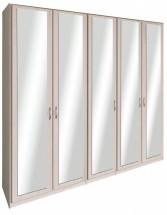 Cassanova - Šatní skříň (5x dveře se zrcadlem, jasan coimbra)