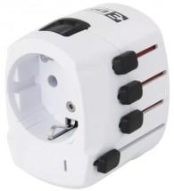 Cestovní adaptér do zahraničí Emos P0056, bílý