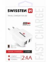 Cestovní adaptér SWISSTEN 220V/2x USB, 2,4A, bílá