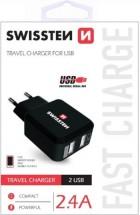 Cestovní adaptér SWISSTEN 220V/2x USB, 2,4A, černá