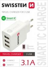 Cestovní adaptér SWISSTEN SMART IC 220V/3x USB, 3,1A, bílá