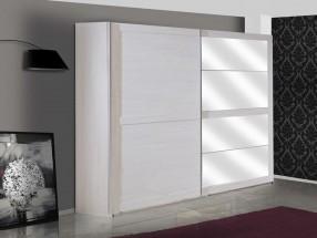Chateau - skříň, 2x dveře, 3x police(dub bílý/lava černá)
