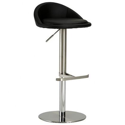 Chill 5 - Barová židle (nerez, eko kůže černá)