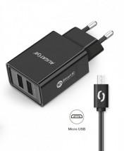 Chytrá nabíječka Aligator 2,4A, 2xUSB, micro USB, černá
