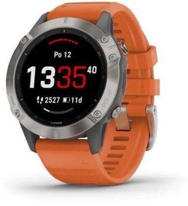 Chytré hodinky Chytré hodinky Garmin Fenix 6 Pro Sapphire, oranžová/titan