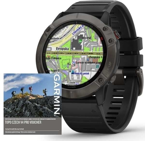 Chytré hodinky Chytré hodinky Garmin Fenix 6X Pro Sapphire, černá/šedá