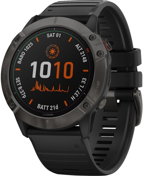 Chytré hodinky Chytré hodinky Garmin Fenix 6X Pro Solar, černá/titan