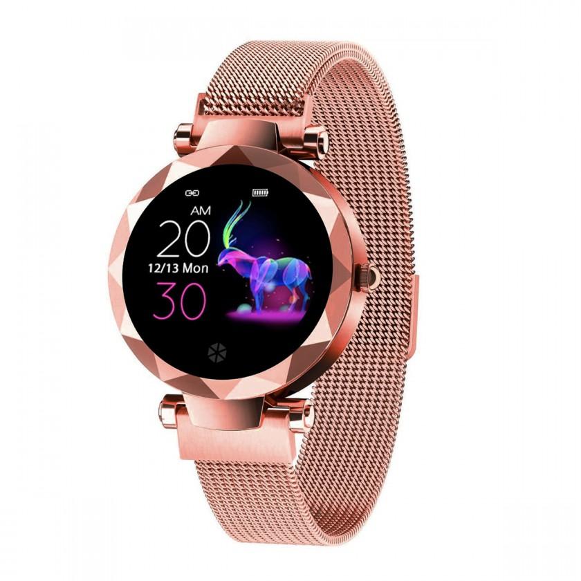 Chytré hodinky Dámské chytré hodinky Immax SW12, magnetický řemínek, růžová