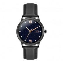 Chytré hodinky Deveroux CF 18, kožený řemínek, černá
