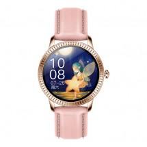 Chytré hodinky Deveroux CF 18, kožený řemínek, růžová