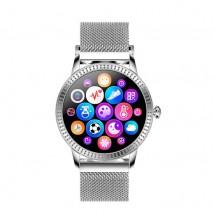 Chytré hodinky Deveroux CF 18, kožený řemínek, stříbrná