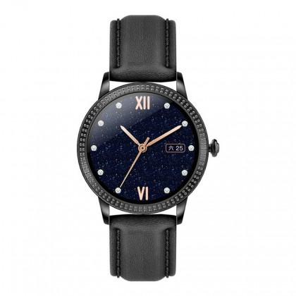 Chytré hodinky Deveroux CF18 Pro, kožený řemínek, černá