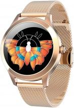 Chytré hodinky Deveroux KW10 Pro, milánský řemínek, zlatá