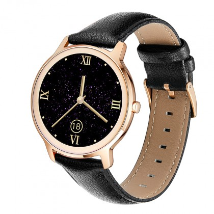 Chytré hodinky Deveroux R18, kožený řemínek, černá