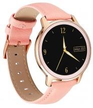 Chytré hodinky Deveroux R18, kožený řemínek, růžová