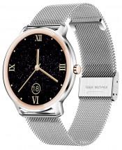 Chytré hodinky Deveroux R18, milánský řemínek, stříbrná