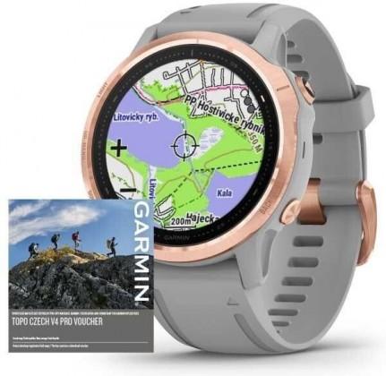 Chytré hodinky Garmin Fenix 6S Pro Sapphire, šedá/růžová +Voucher