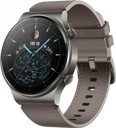 Chytré hodinky Huawei Watch GT2 Pro, kožený řemínek, šedá