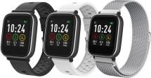 Chytré hodinky iGET Fit F3, 3 řemínky, stříbrná