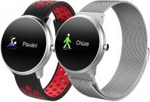 Chytré hodinky iGET Fit F4, 2 pásky, stříbrná