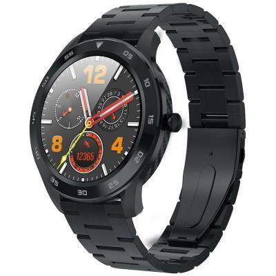 Chytré hodinky Immax SW14 PLUS, kožený + kovový řemínek, černá