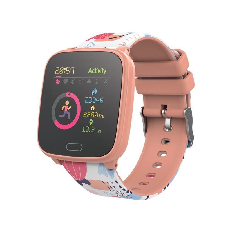 Chytré hodinky pro děti Dětské chytré hodinky Forever IGO JW-100, IP68, broskvová