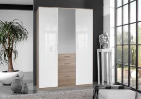 Clack - Skříň, 3x dveře, zrcadlo (dub, bílá)
