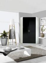 Clack - Skříň rohová, 2x dveře (černá, bílá)