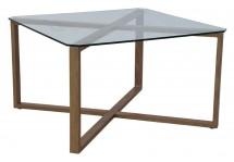 Cleo - Konferenční stolek, čtverec (sklo, kov) - PŘEBALENO