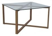 Cleo - Konferenční stolek, čtverec (sklo, kov)