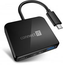 Connect IT USB-C hub, 3v1 (USB-C,USB-A,HDMI), externí, černý