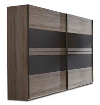 Corfu - Šatní skříň, 2x dveře (dub montana, lava černá)