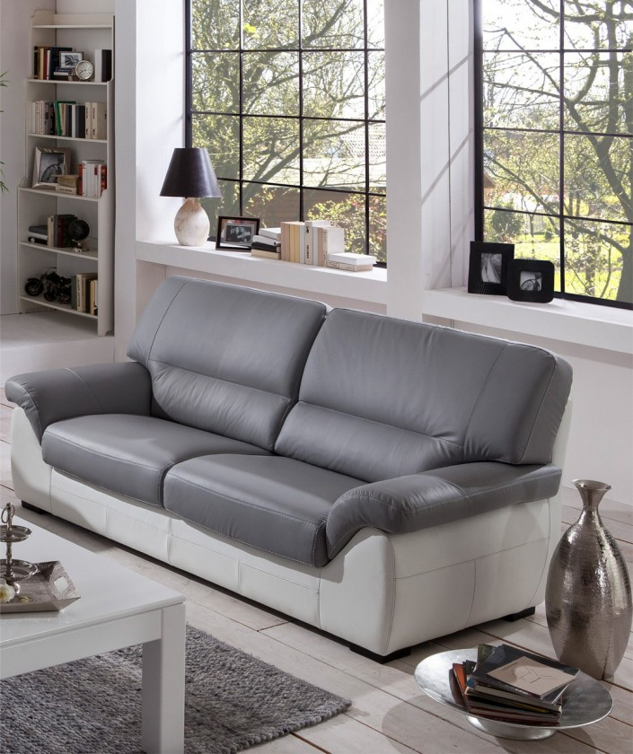 Cortina-trojsedák (light grey-látka/white madras leather-korpus)
