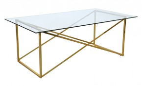 Cross - Konferenční stolek, obdélník (lesklé sklo, mosazné nohy)