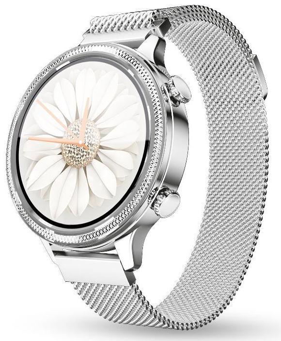 Dámské chytré hodinky Dámské chytré hodinky Aligator Watch Lady, 2x řemínek, stříbrná