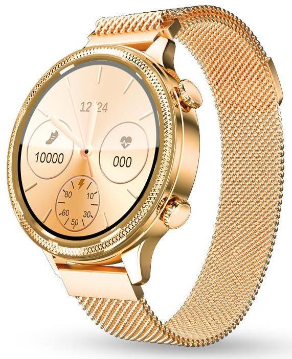 Dámské chytré hodinky Dámské chytré hodinky Aligator Watch Lady, 2x řemínek, zlatá