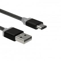 Datový kabel Type C - USB 1m,nylon golf blister,černý
