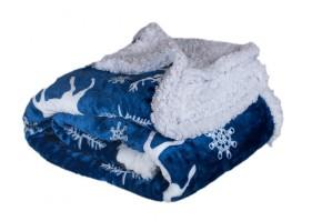 Deka s beránkem DB10 (150x200 cm, modrá, vánoce)