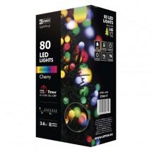Dekor.řetěz 80xLED,8m,kulička, multicolor, časovač