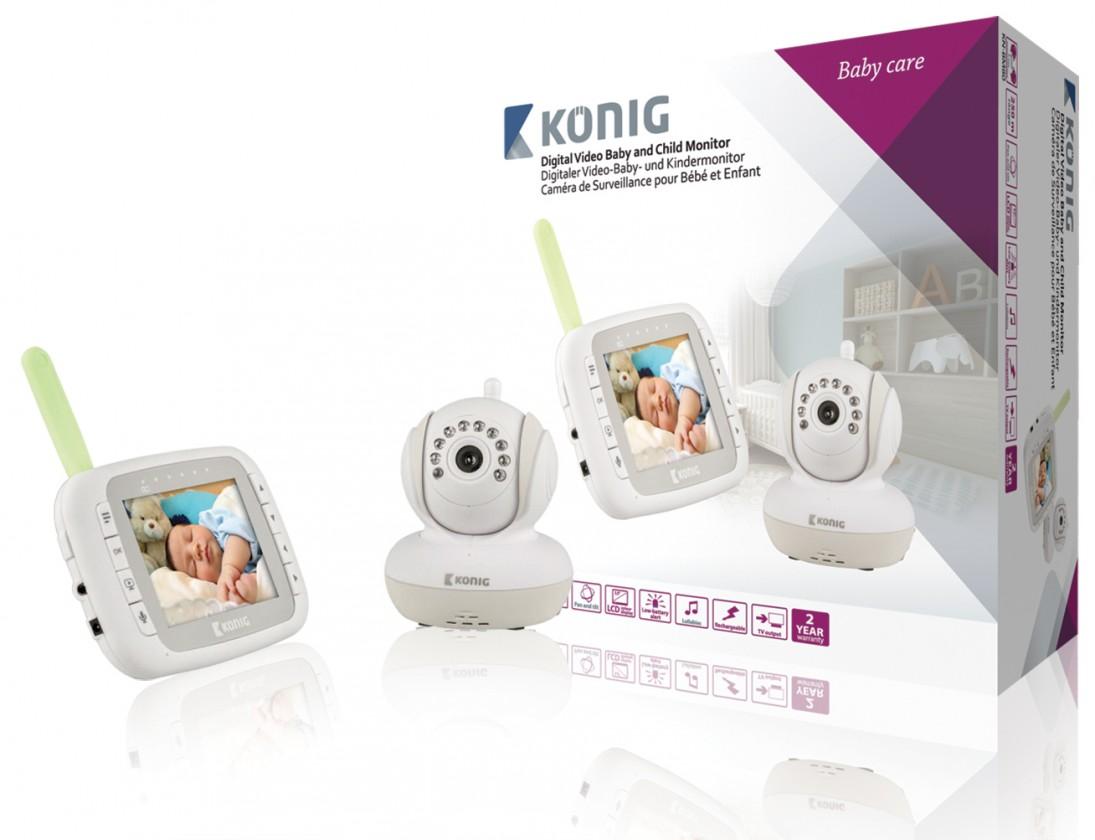 Dětská chůvička KÖNIG Digitální dětská a kojenecká videochůvička, KN-BM80