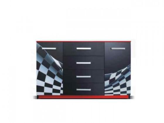 Dětská komoda F1 carbon - Komoda (F1 carbon, 2x dveře, 4x zásuvka)