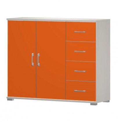 Dětská komoda Happy - typ05 + typ51 + 2xtyp 60 (woodline creme/tmavě oranžová)