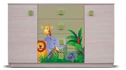 Dětská komoda Junior - Komoda, džungle 7 (bříza/zelená)