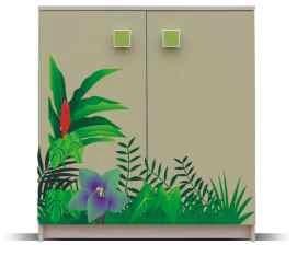 Dětská komoda Junior - Komoda, džungle 8(bříza/zelená)