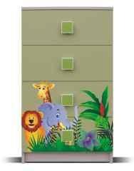 Dětská komoda Junior - Komoda, džungle 9 (bříza/zelená)