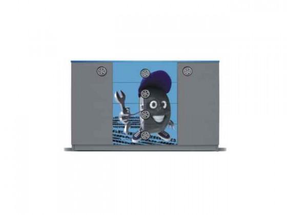 Dětská komoda Junior mechanik - Komoda (šedá/modrá, 2x dveře, 4x zásuvka)