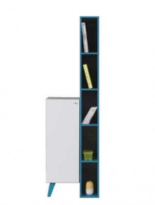 Dětská komoda SAJMON SJ 11 L/P + 6 (modřín/bílá lesk/tyrkysová)