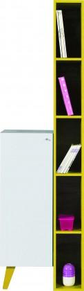 Dětská komoda SAJMON SJ 11 L/P + 6 (modřín/bílá lesk/žlutá)