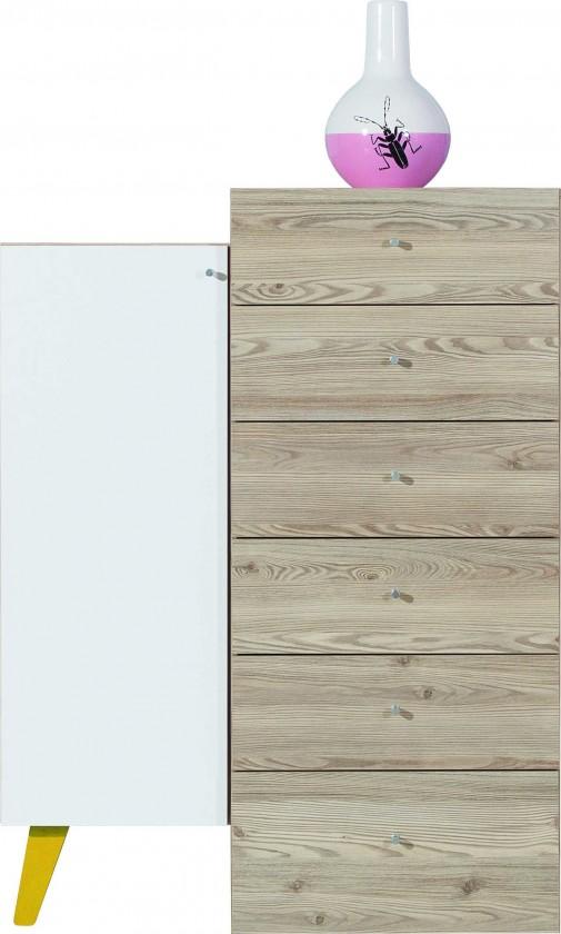 Dětská komoda SAJMON SJ 11 L/P + 7 (modřín/bílá lesk/žlutá)