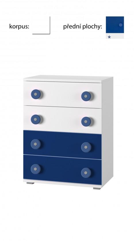 Dětská komoda Simba 10(korpus bílá/front bílá a modrá)